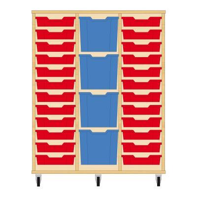 Storix Materiaalkast 82 beuken, B1050xH1200xD465 - laden rood-blauw-rood
