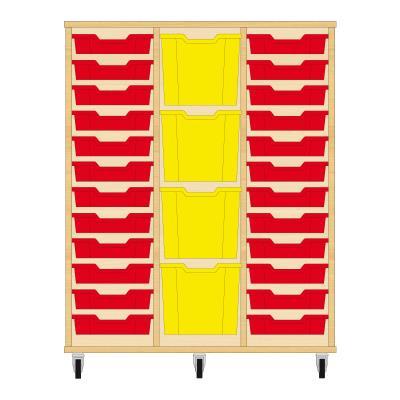 Storix Materiaalkast 82 beuken, B1050xH1200xD465 - laden rood-geel-rood
