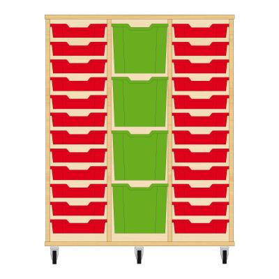 Storix Materiaalkast 82 beuken, B1050xH1200xD465 - laden rood-groen-rood