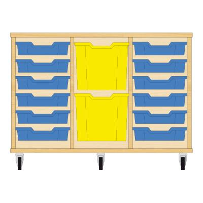 Storix Materiaalkast 82 beuken, B1050xH684xD465 - laden blauw-geel-blauw