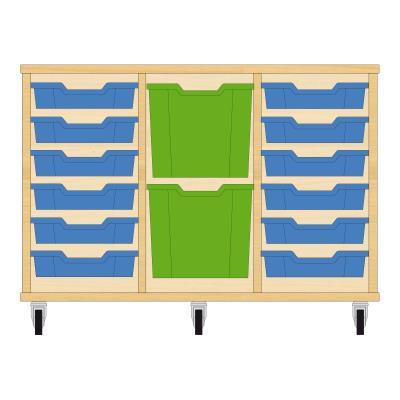 Storix Materiaalkast 82 beuken, B1050xH684xD465 - laden blauw-groen-blauw