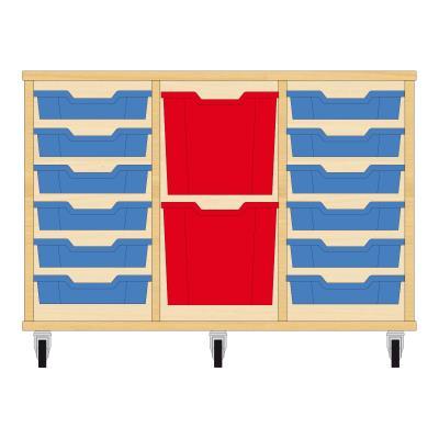 Storix Materiaalkast 82 beuken, B1050xH684xD465 - laden blauw-rood-blauw