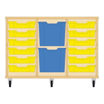 Storix Materiaalkast 82 beuken, B1050xH684xD465 - laden geel-blauw-geel