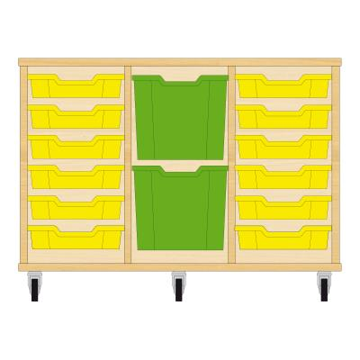 Storix Materiaalkast 82 beuken, B1050xH684xD465 - laden geel-groen-geel
