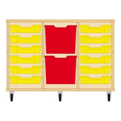 Storix Materiaalkast 82 beuken, B1050xH684xD465 - laden geel-rood-geel