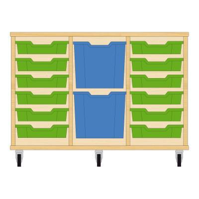 Storix Materiaalkast 82 beuken, B1050xH684xD465 - laden groen-blauw-groen