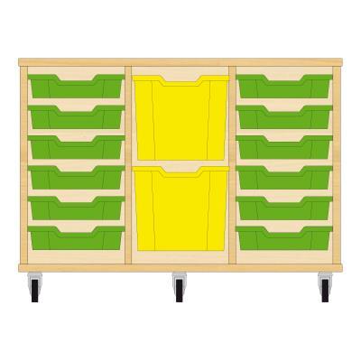 Storix Materiaalkast 82 beuken, B1050xH684xD465 - laden groen-geel-groen