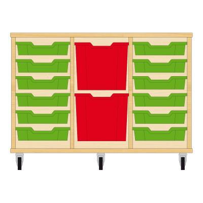 Storix Materiaalkast 82 beuken, B1050xH684xD465 - laden groen-rood-groen