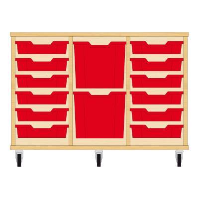 Storix Materiaalkast 82 beuken, B1050xH684xD465 - laden rood