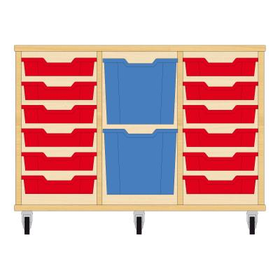 Storix Materiaalkast 82 beuken, B1050xH684xD465 - laden rood-blauw-rood