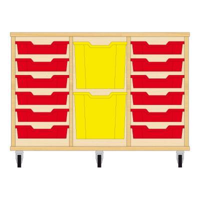 Storix Materiaalkast 82 beuken, B1050xH684xD465 - laden rood-geel-rood