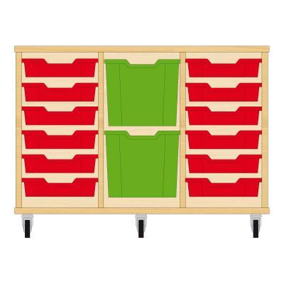 Storix Materiaalkast 82 beuken, B1050xH684xD465 - laden rood-groen-rood
