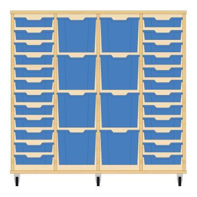Storix Materiaalkast 92 beuken, B1390xH1200xD465 - laden blauw