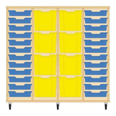 Storix Materiaalkast 92 beuken, B1390xH1200xD465 - laden blauw-geel-geel-blauw
