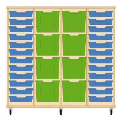Storix Materiaalkast 92 beuken, B1390xH1200xD465 - laden blauw-groen-groen-blauw
