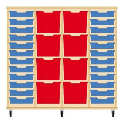 Storix Materiaalkast 92 beuken, B1390xH1200xD465 - laden blauw-rood-rood-blauw