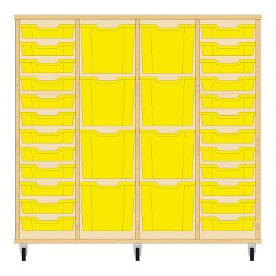 Storix Materiaalkast 92 beuken, B1390xH1200xD465 - laden geel