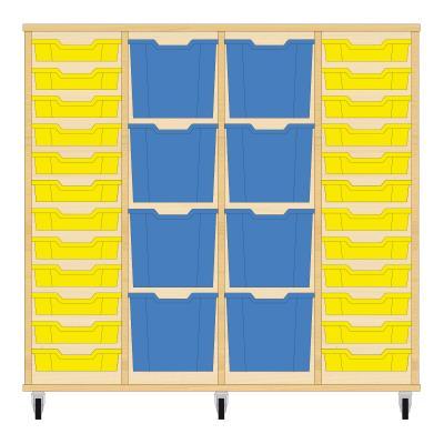 Storix Materiaalkast 92 beuken, B1390xH1200xD465 - laden geel-blauw-blauw-geel