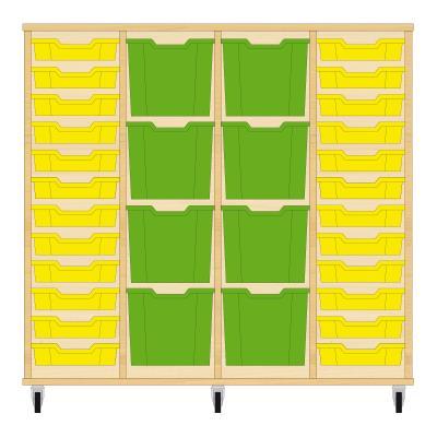 Storix Materiaalkast 92 beuken, B1390xH1200xD465 - laden geel-groen-groen-geel