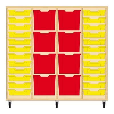 Storix Materiaalkast 92 beuken, B1390xH1200xD465 - laden geel-rood-rood-geel