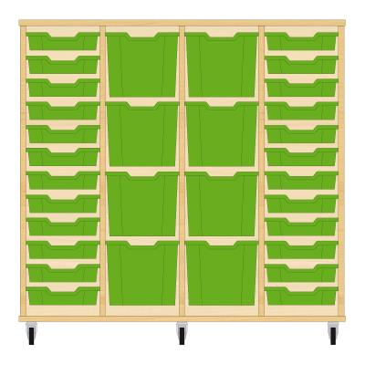 Storix Materiaalkast 92 beuken, B1390xH1200xD465 - laden groen