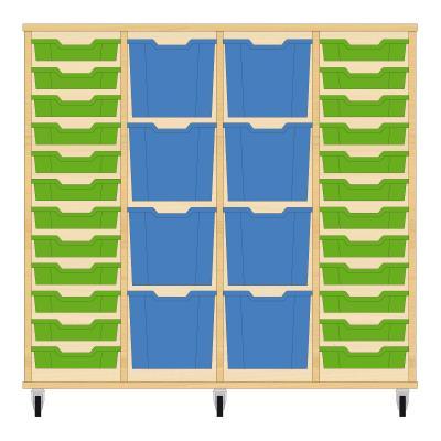 Storix Materiaalkast 92 beuken, B1390xH1200xD465 - laden groen-blauw-blauw-groen