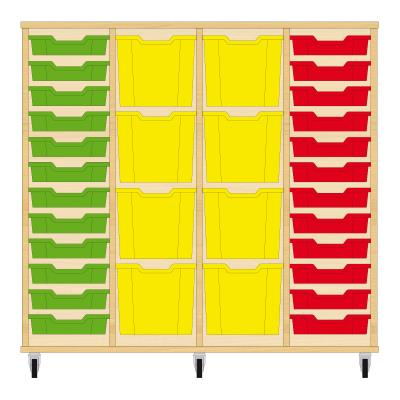 Storix Materiaalkast 92 beuken, B1390xH1200xD465 - laden groen-geel-geel-rood