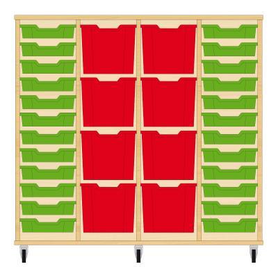 Storix Materiaalkast 92 beuken, B1390xH1200xD465 - laden groen-rood-rood-groen