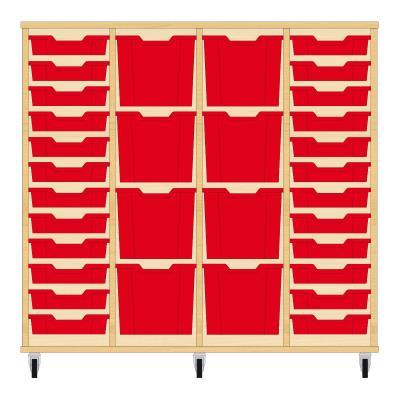 Storix Materiaalkast 92 beuken, B1390xH1200xD465 - laden rood