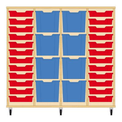 Storix Materiaalkast 92 beuken, B1390xH1200xD465 - laden rood-blauw-blauw-rood