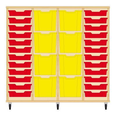 Storix Materiaalkast 92 beuken, B1390xH1200xD465 - laden rood-geel-geel-rood