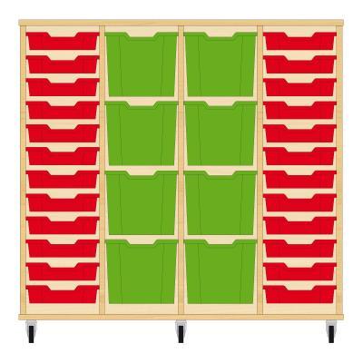 Storix Materiaalkast 92 beuken, B1390xH1200xD465 - laden rood-groen-groen-rood