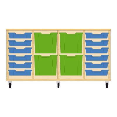 Storix Materiaalkast 92 beuken, B1390xH684xD465 - laden blauw-groen-groen-blauw