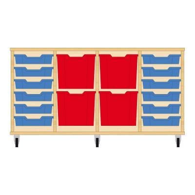 Storix Materiaalkast 92 beuken, B1390xH684xD465 - laden blauw-rood-rood-blauw