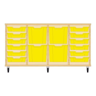 Storix Materiaalkast 92 beuken, B1390xH684xD465 - laden geel