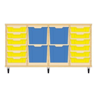 Storix Materiaalkast 92 beuken, B1390xH684xD465 - laden geel-blauw-blauw-geel