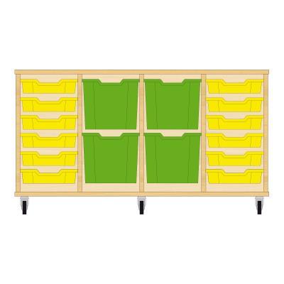 Storix Materiaalkast 92 beuken, B1390xH684xD465 - laden geel-groen-groen-geel