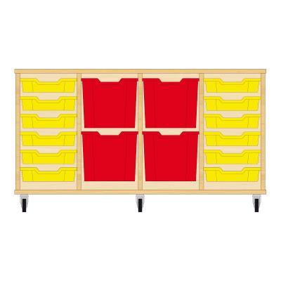 Storix Materiaalkast 92 beuken, B1390xH684xD465 - laden geel-rood-rood-geel