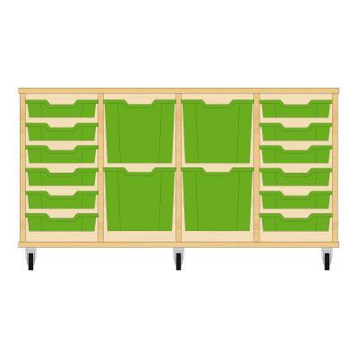 Storix Materiaalkast 92 beuken, B1390xH684xD465 - laden groen