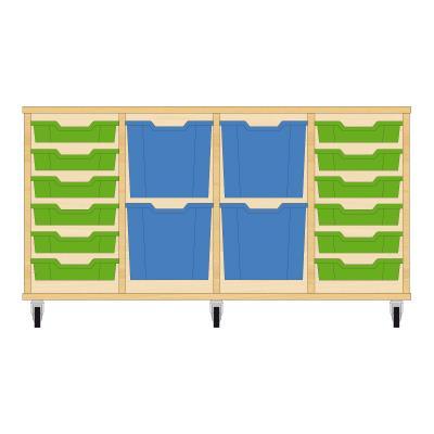 Storix Materiaalkast 92 beuken, B1390xH684xD465 - laden groen-blauw-blauw-groen