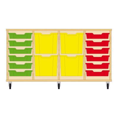 Storix Materiaalkast 92 beuken, B1390xH684xD465 - laden groen-geel-geel-rood