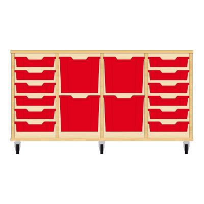 Storix Materiaalkast 92 beuken, B1390xH684xD465 - laden rood