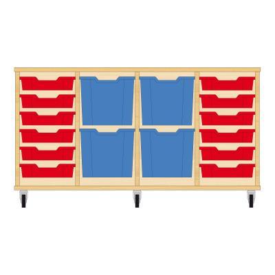 Storix Materiaalkast 92 beuken, B1390xH684xD465 - laden rood-blauw-blauw-rood