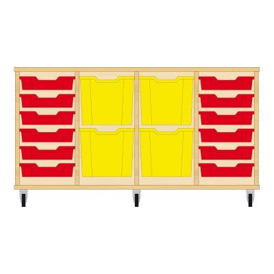 Storix Materiaalkast 92 beuken, B1390xH684xD465 - laden rood-geel-geel-rood