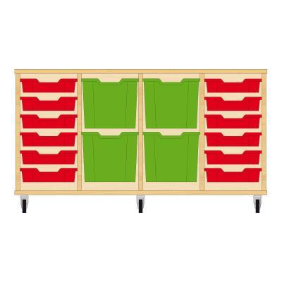 Storix Materiaalkast 92 beuken, B1390xH684xD465 - laden rood-groen-groen-rood