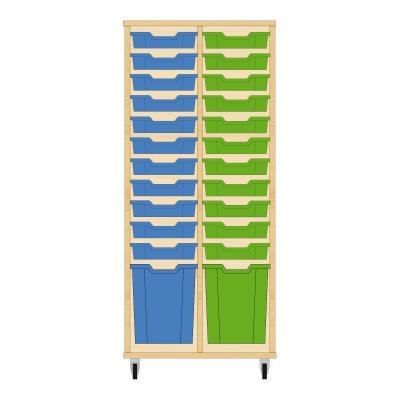 Storix Materiaalkast 51 beuken, B710 x H1458 x D465 mm - laden blauw-groen