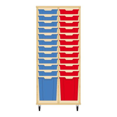 Storix Materiaalkast 51 beuken, B710 x H1458 x D465 mm - laden blauw-rood