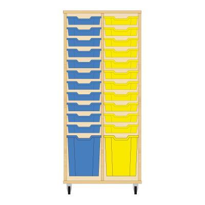 Storix Materiaalkast 51 beuken, B710 x H1458 x D465 mm - laden blauw-geel