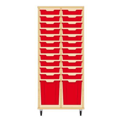 Storix Materiaalkast 51 beuken, B710 x H1458 x D465 mm - laden rood