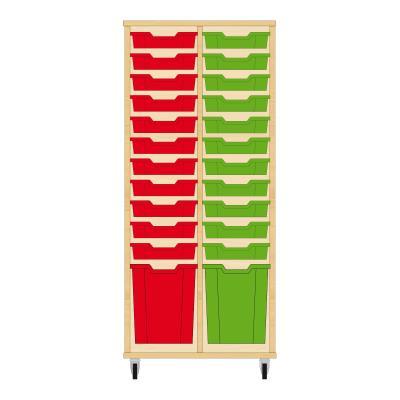 Storix Materiaalkast 51 beuken, B710 x H1458 x D465 mm - laden rood-groen
